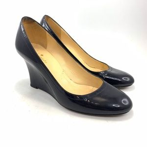 Kate Spade navy blue patent leather wedge